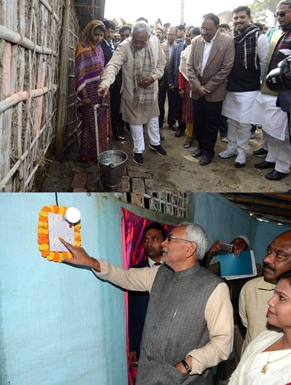 Upper photo: Nitish Kumar inaugurates a running water faucet in Katihar. Lower photo: The CM turning the light on in Araria.