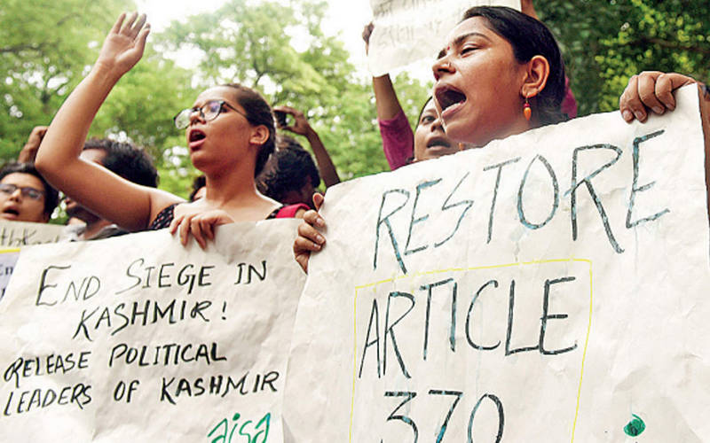 AISA protest against recall of Article 370.