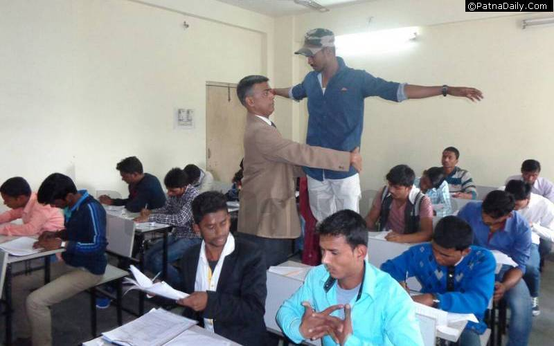 BSEB Secretary searching for cheats during matric exam in Patna.