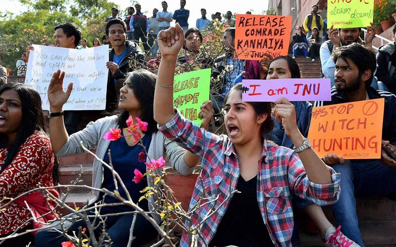 Protest at JNU over the arrest of student leader Kanhaiya Kumar.