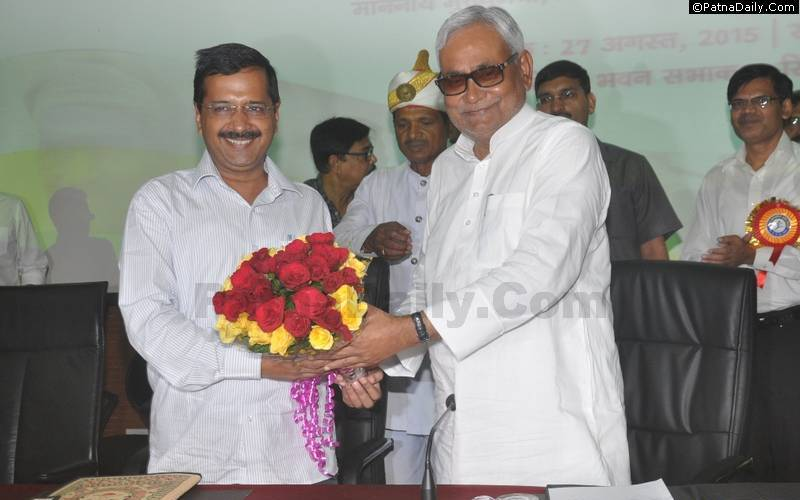 Arvind Kejriwal and Nitish Kumar in Patna on August 27, 2015.