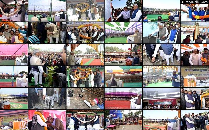 Nitish Kumar on various trips of Bihar in 2016.
