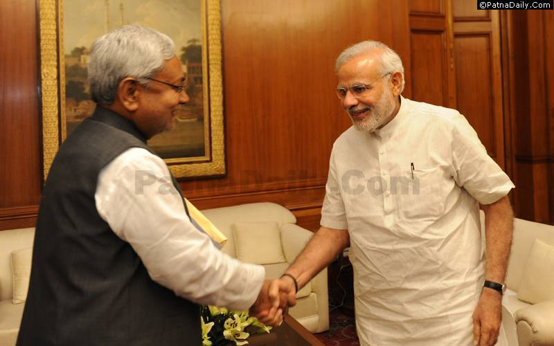 Bihar CM Nitish Kumar and Prime Minister Narendra Modi exchange forced pleasantries at a recent meeting in New Delhi.