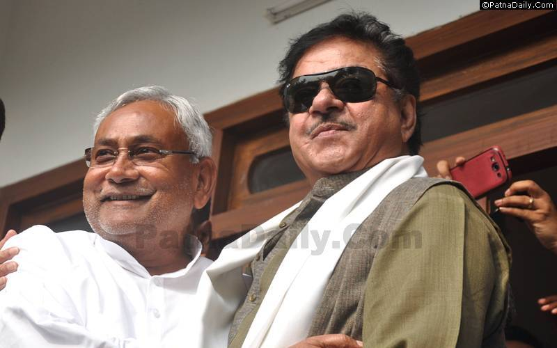 Nitish Kumar with Shatrughan Sinha.