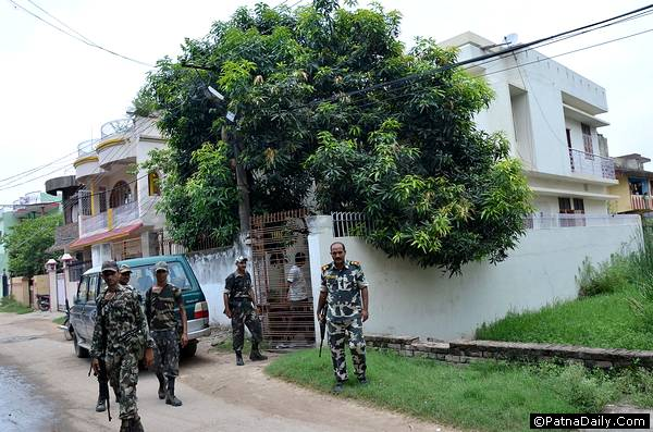 Vigilance raid at a government official's house in Patna.