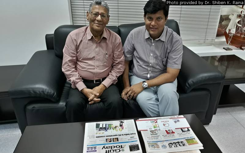 PD guest columnist Dr. Shiben K. Raina meeting with Bihar native journalist in Sharjah Imran Mojib.