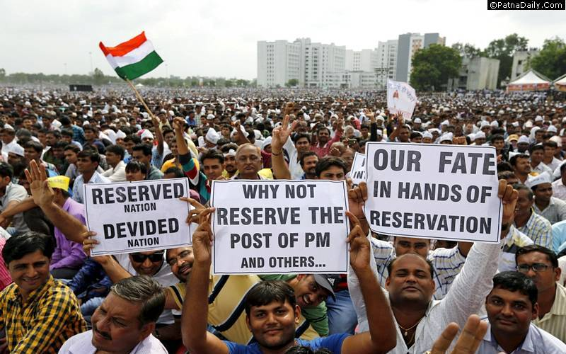 Protest over reservation in Gujarat.