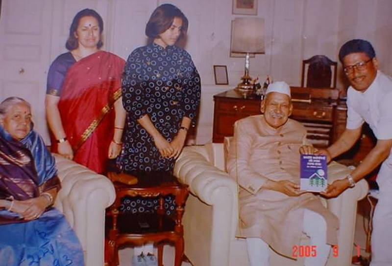 Author with former President Shankar Dayal Sharma.