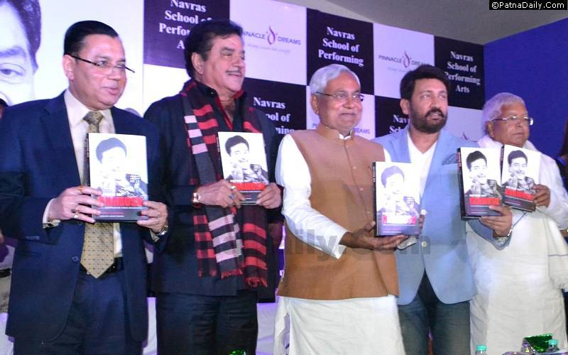 Shatrughan Sinha with Lalu, Nitish, and Shekhar Suman at his book launch in Patna last week.