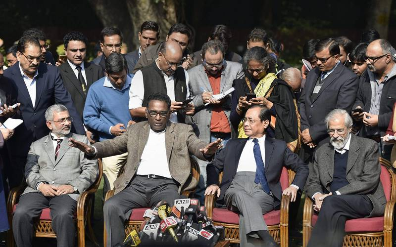 Supreme Court judges holding a press conference in Delhi on January 12, 2018.
