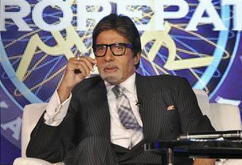 Amitabh Bachchan on the set of Kaun Banega Crorepati.