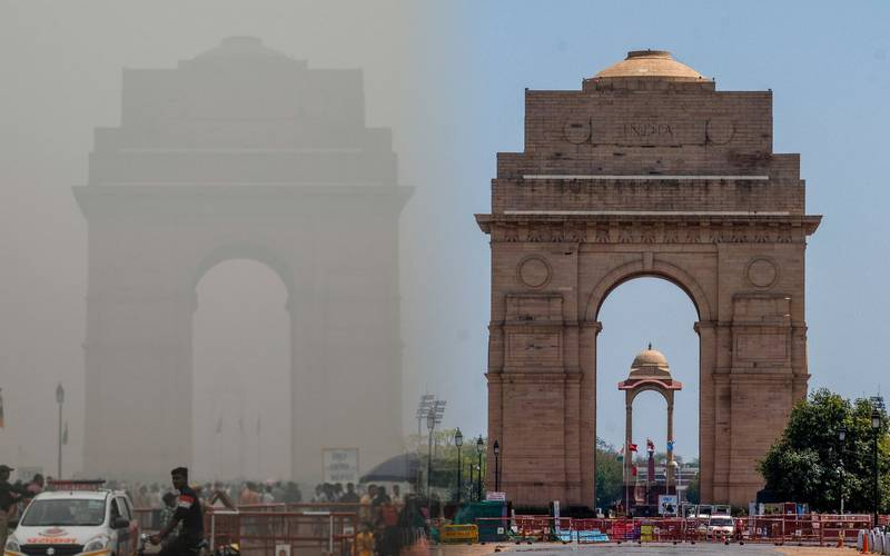 Coronavirus effect on pollution in Delhi (before and after image of Raj Marg).
