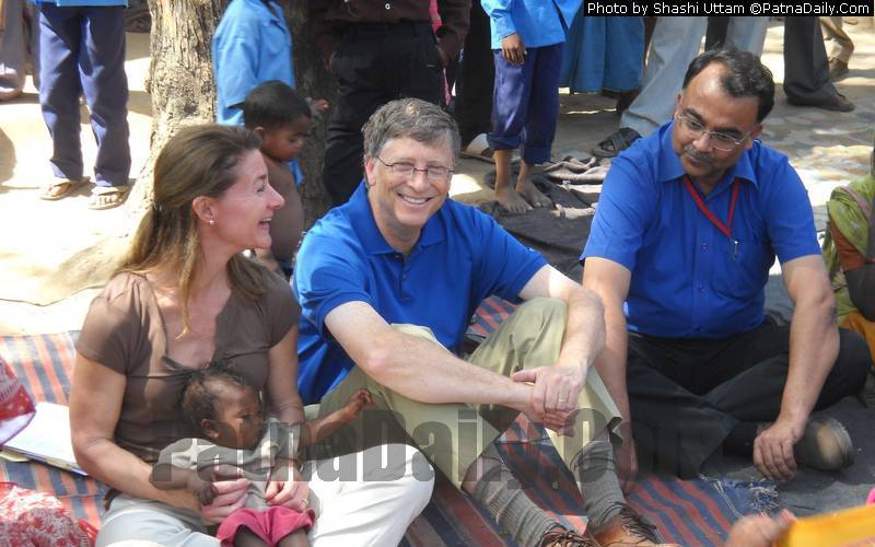 Bill and Melinda Gates in Danapur on Wednesday.