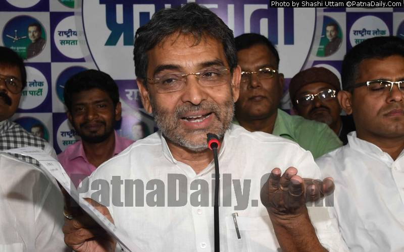 Kushwaha holding a press conference in Patna on Wednesday.