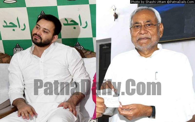 Tejaswi Yadav and Nitish Kumar (photo patnadaily.com)