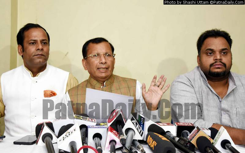 RLSP leader Ram Kumar Sharma holding a press conference in Patna on Monday.