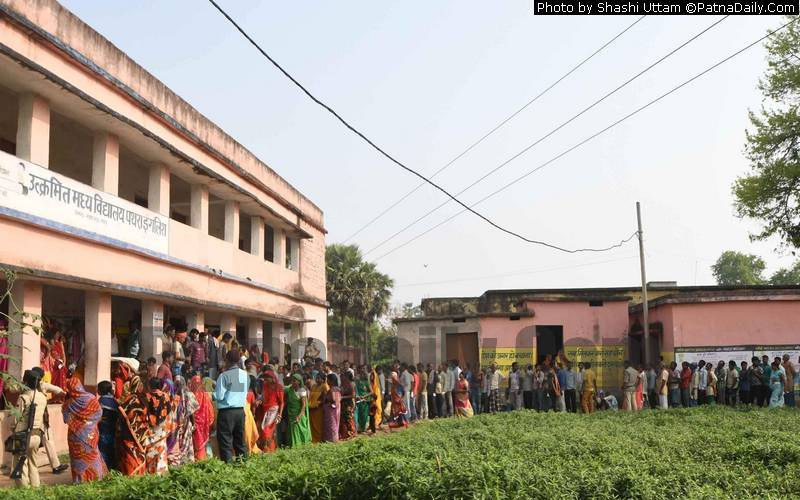 Polling at a booth in Nawada on Thursday.