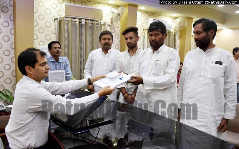 LJP leader Pashupati Kumar Paras filing his nomination from Hajipur seat on Monday.