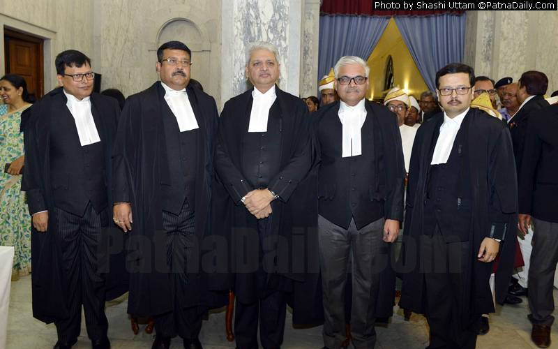 Four new Patna High Court judges with the Chief Justice.