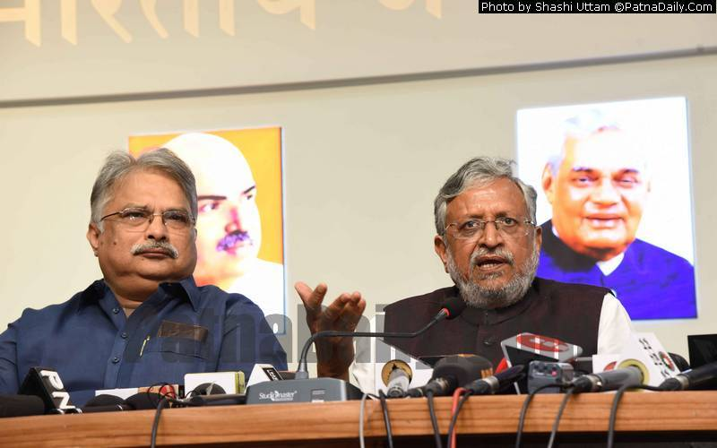 BJP leader and Deputy Chief Minister Sushil Kumar Modi holding a press conference in Patna on Wednesday.