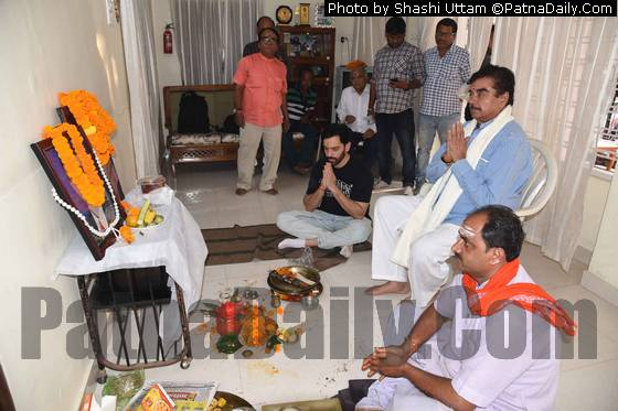 Shatrughan Sinha, his son, and other family members paying tribute to Sinha's mother to mark her death anniversary on Monday at his residence in Kadam Kuan in Patna.