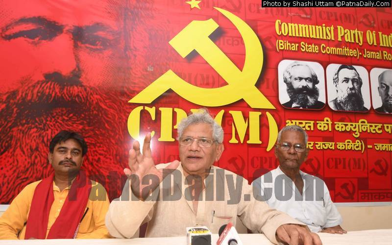 CPI-M leader Sitaram Yechuri holding a press conference in Patna on Tuesday.