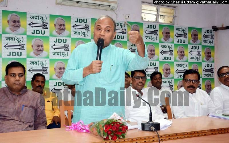 JD-U leader RCP Singh holding a press conference in Patna on Wednesday.