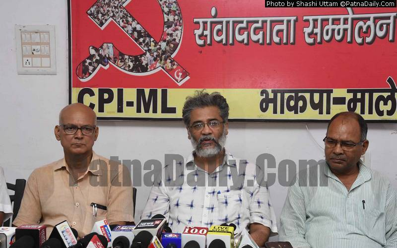 CPI-ML leader Dipankar Bhattacharya holding a press meet in Patna on Wednesday.