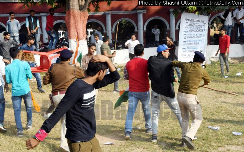 Violence erupts at Patna College during student union debate session.