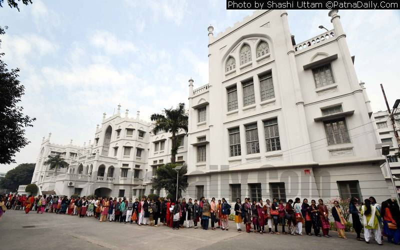 Students at Patna Women's College wait to cast their ballot during the PUSU election.