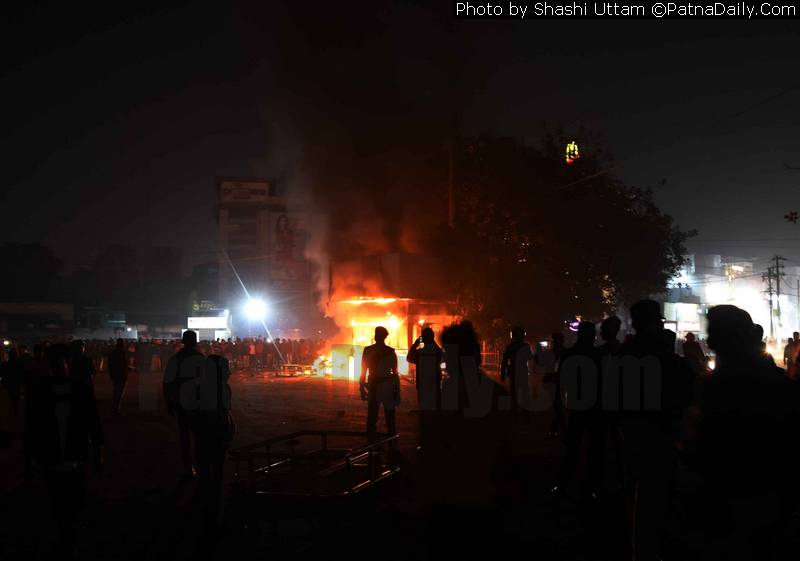 Riot over CAB near Kargil Chowk in Patna on Sunday.