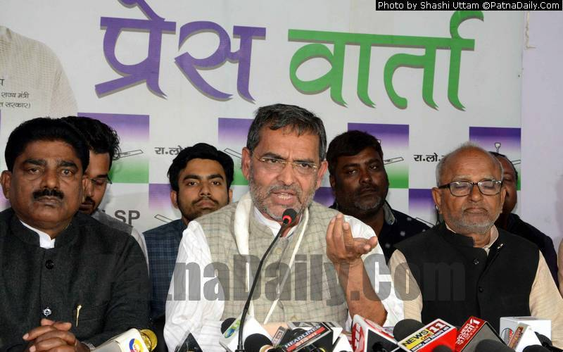 Upendra Kushwaha holding a press conference in Patna on Wednesday.
