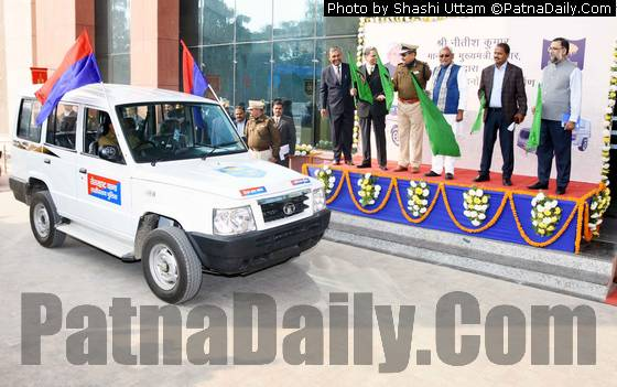 CM flagging off new police cars from Patna on Wednesday.