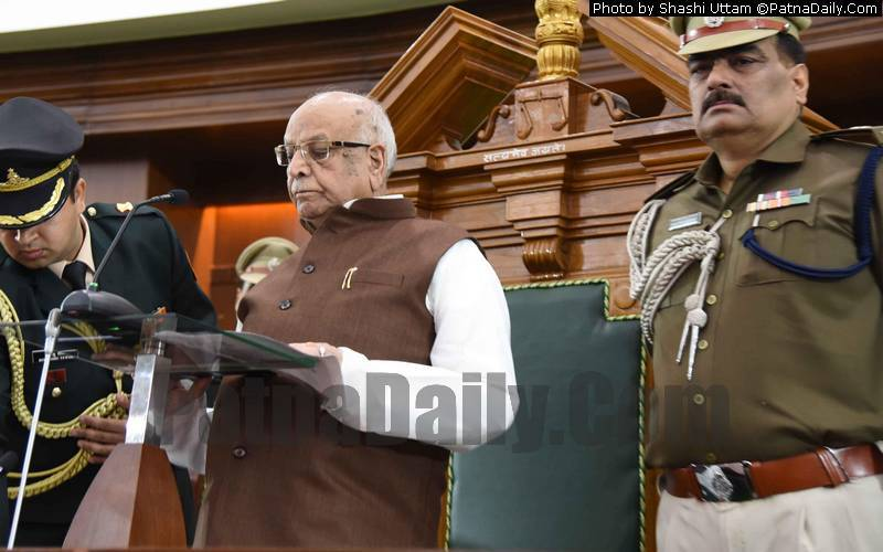 Bihar Governor Lalji Tandon speaking on the opening day of Budget Session at Bihar Assembly on Monday.