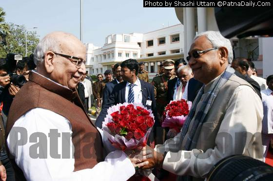Chief Minister Nitish Kumar welcoming Governor Lalji Tandon at Bihar Assembly on Monday.