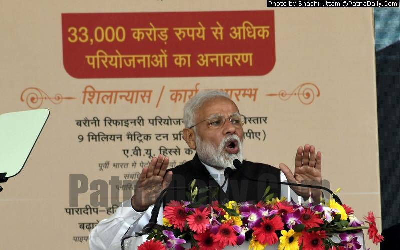 PM Modi Announces a slew of new projects for Bihar at an event in Begusarai on Sunday.