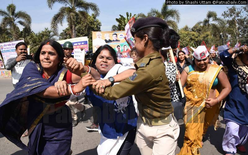 HAM women activists clashing with people during a rally in Patna on Sunday.