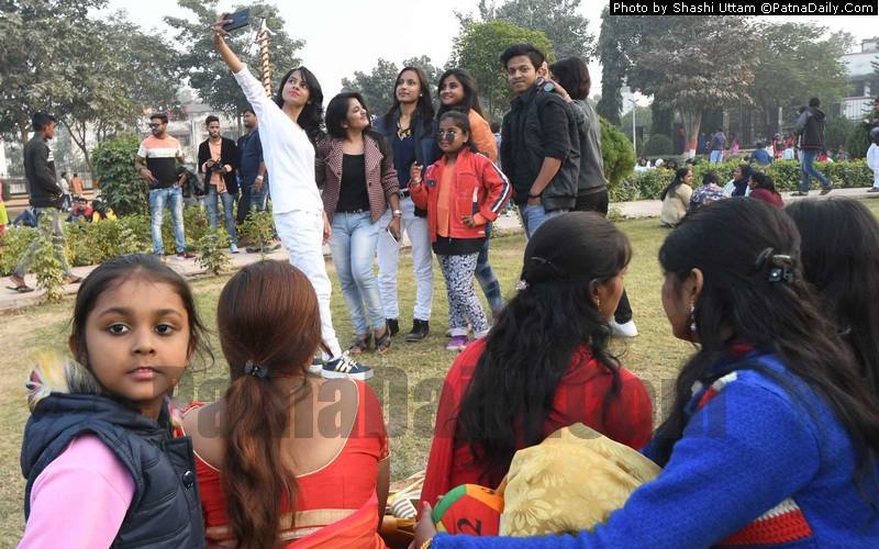 People celebrating New Year in various parks in Patna on Tuesday.