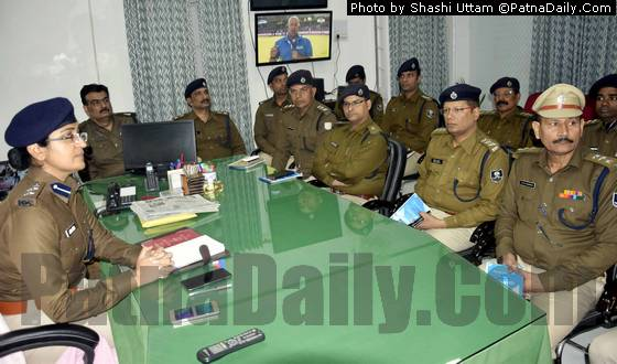 New Patna SSP Garima Malik holding a meeting of top cops on Friday.