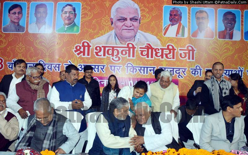 Shakuni Chowdhary with BJP leaders in Patna on Friday.
