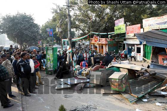 Anti-encroachment drive in Patna on Wednesday.