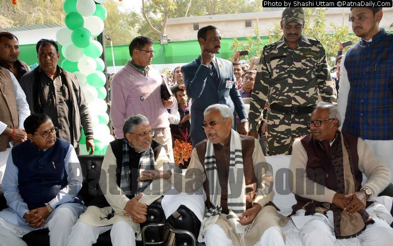 NDA leaders celebrating Makar Sankranti at Vashisht Narayan Singh's residence in Patna on Monday.