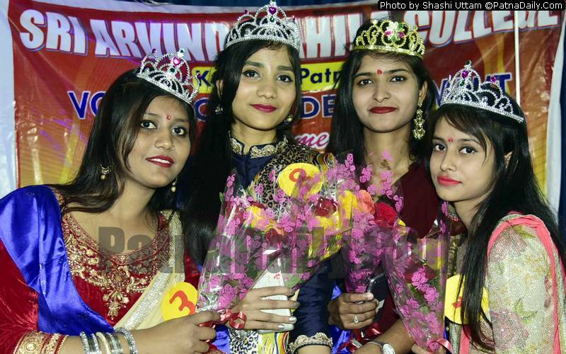 Winners of the Miss Fresher at Arvind Mahila College in Patna.