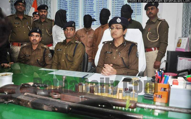 Police conference after the arrest of four criminals in Patna on Monday.