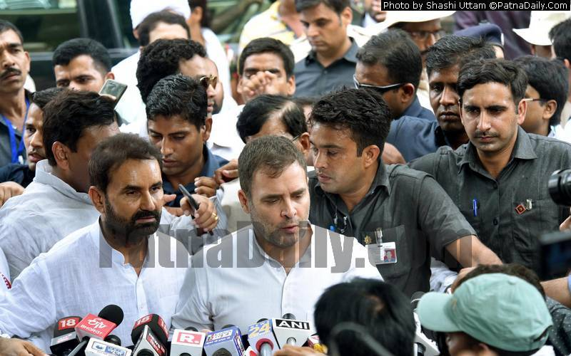 Rahul Gandhi talking to media in Patna on Saturday.