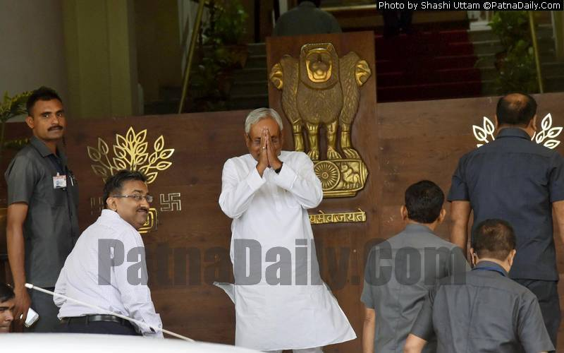 Chief Minister Nitish Kumar arriving at Bihar Assembly on Monday.