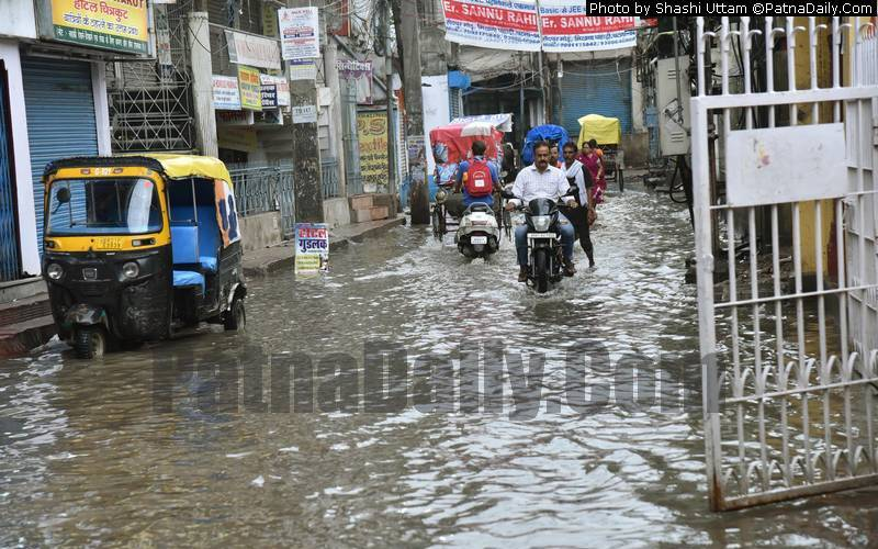 Rain brings waterlogging in Patna on Monday.