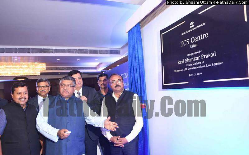 Ravi Shankar Prasad inaugurating TCS office in Patna on Saturday.