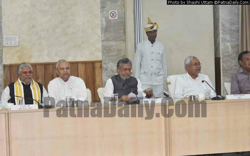 Chief Minister Nitish Kumar holding a meeting to review flood and draught situation in Bihar.