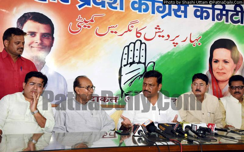 Congress leaders holding a press conference in Patna on Tuesday.